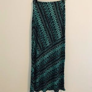 Teal Printed Maxi Skirt